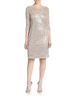 Kay Unger Sequined Shift Dress - Bisque - Size 16