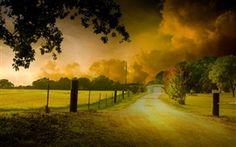 Naturlandschaft, Bäume, gelbe Blätter, Straße, Haus, Dämmerung