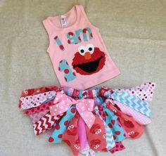 1st birthday Elmo tutu and tank set