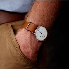 White Dial Quartz Watch with Leather NATO Strap