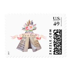 Tribal teepee girl baby shower postage stamps with watercolor flowers, feathers, arrows and teepee.