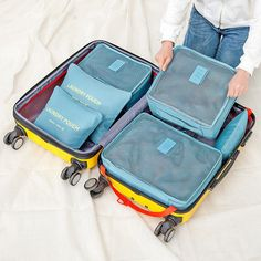 (Portabe travel storage bag set, Durable oxford, waterproof, reusable, protect suits from dirt, dust, damp and bacteria :). One side of the bag is mesh, convenient for looking for the clothes what you want. | eBay!
