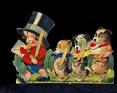 Vintage Valentine Card, Charles Twelvetrees, Mechanical, Boy in Top Hat, 3 Boston Terriers, Marching, Chubby Cheeks, Large Die Cut, 1920s
