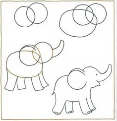 easy to draw elephant - Google Search