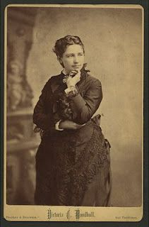 This is a cabinet photo of the notorious Victoria Woodhull, advocate of free love, whose candidacy for the presidency in 1872 almost fractured the friendship between Susan B. Anthony and Elizabeth Cady Stanton.  She was the first woman to run for President.