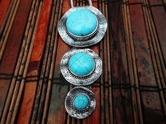 Southwestern Style Triple Turquoise Silver by CultureCross on Etsy