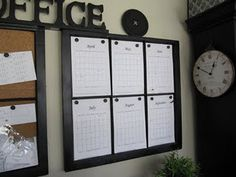 magnetic calendar with 6 months showing. Love it. That way you can keep sckooching the months around as needed, and you can see whats coming up in the next month.