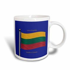3dRose The flag of Lithuania on a blue background with Republic of Lithuania in English and Lithuanian, Ceramic Mug, 15-ounce