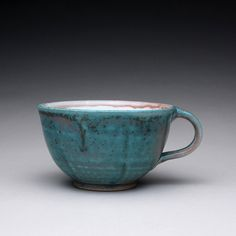 handmade teacup pottery mug with satin green by rmoralespottery, $25.00
