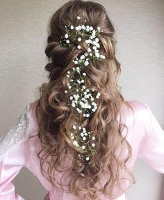 Curly Bridal Half Updo For Long Hair