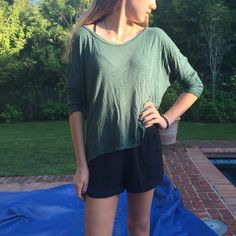 Planet Blue long sleeve cotton shirt Very comfy dark turquoise/green long sleeve shirt. Great condition! Sleeves are rolled up in pictures above. Size xsmall but can fit small and probably medium because it is slightly oversized/stretchy cotton. Planet Blue Tops Tees - Long Sleeve