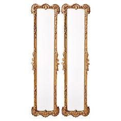 """Ferrara 12""""x50"""" Oversize Mirror Set, Gold Leaf"""