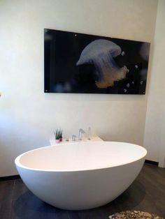 freistehende Badewanne BW-04 L aus MIneralguss