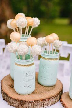 Dessert - Cake Pops, Mason Jars, Spray Paint, and Ribbon/Twine