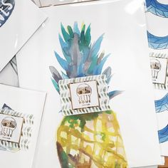 Happy Friday! Just packing up some prints and stopped to admire our new packaging sticker. Don't you love the colors on it!? #pineappleprint #beachprints #beachdecor #coastalprints #coastaldecor #pineappleart