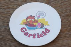 Vintage 70s Garfield Cat Melamine Plate Tabby Cat Retro Collectable