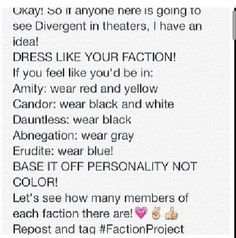 LET'S DO IT!!!! (Also one time I'm dressing like Tris and my good friend @Emma Wagner  is gonna draw the ravens in me!)