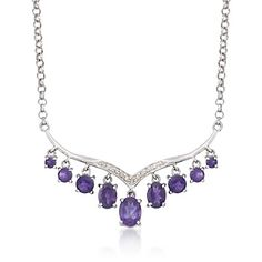 3.60 ct. t.w. Amethyst and .10 ct. t.w. Diamond Tiara Necklace  in Sterling Silver