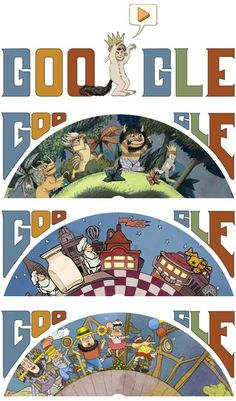 Sendak Tribute Google Doodle Using some of the illustrations Sandak one after the other walking representing the worlds he has created
