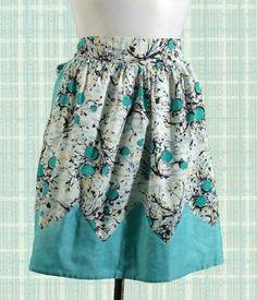 1960s turquoise cotton print apron.. retro love ~