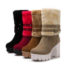 Cheap Mujer botas de nieve a media pierna de hebilla para mujer moda de invierno botas Slip On plataforma de espesor zapatos grandes del tamaño, Compro Calidad Botas directamente de los surtidores de China:             Tamaño                             Longitud de pie                  22 cm                  22.5 cm