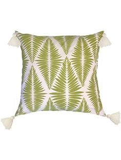 Better Homes and Gardens Palm Fronds Green Velvet Flocked Pillow with Decorative Tassels ❤ Generic