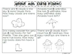 Learning with a Happy Heart: Math Journal Monday (Weather Word Problems)