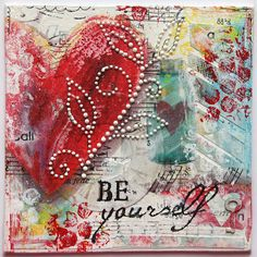 Mixed Media Collage by Tanya Batrak / like the pearl accent on the heart