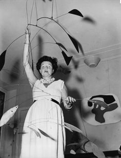Peggy Guggenheim in her gallery.