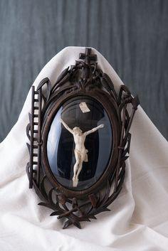Plaster Crucifix in Oak Frame