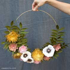 How to Make a Gorgeous Paper Flower Wreath for Fall - Lia Griffith One of the great things about DIY projects is reusing them. See how we transformed a few of our previous projects into a new paper flower wreath for fall! Paper Flower Wreaths, Paper Flower Art, Paper Flower Tutorial, Paper Flowers Diy, Flower Crafts, Paper Flower Backdrop Wedding, Wedding Flowers, Delphinium Flowers, Hand Flowers