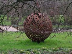 Garden Sculpture seen in Winchester. Large metal 'ball' about 6 feet high from Mockney Rebel