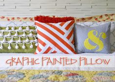 DIY Graphic Painted Pillow | http://heartsandsharts.com/diy-graphic-painted-pillow/