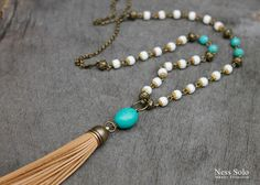 Bohemian jewelry Leather tassel necklace Long boho necklace white Turquoise pendant beaded boho necklace Southwestern Hippie jewelry by NessSolo on Etsy https://www.etsy.com/listing/250131502/bohemian-jewelry-leather-tassel-necklace