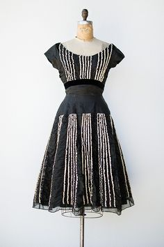vintage 1950s black organza party dress with ruffles from Adored Vintage