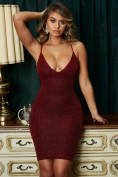 Oh Glow On Strappy Plunge Embellished Knee Length Dress In Dark Red by Oh Polly. Sexy Outfits, Sexy Dresses, Nice Dresses, Look Body, Dress Skirt, Bodycon Dress, Short Mini Dress, Going Out Dresses, Embellished Dress
