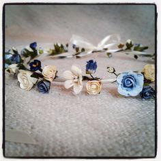SOMETHING BLUE - Bridal Hair Circlet (wreath, garland, rose flower crown) on Etsy, $65.84