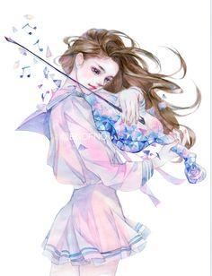 四重奏 | ENOFNO - 原创作品 - 涂鸦王国插画 Cool Anime Girl, Pretty Anime Girl, Beautiful Anime Girl, Anime Art Girl, Manga Girl, Pretty Art, Cute Art, Anime Fantasy, Fantasy Art