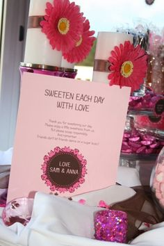 Pink and brown candy buffet sign