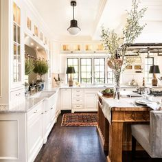 Large Kitchen Inspiration | Wall of Windows | Farmhouse Kitchen | Rustic Kitchen Decor