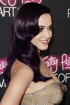 Katy Perry sexy purple black hair dye