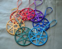 Chakra Colors Faerie Ribbon Stars (could be modified to make pentacles)