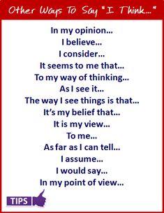 """Enriquece tu vocabulario: Other ways to say """"I think""""."""