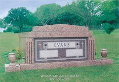 West Memorials - double crypt drawer style 2 person mausoleum with vases 2017 Design, Design Development, Beautiful Birds, Floral Arrangements, Hand Carved, Memories, Granite, Vases, Drawer