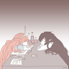 Princess Bubblegum and Marceline the Vampire Queen PB falling asleep while working Adventure time Adventure Time Marceline, Adventure Time Anime, Adventure Time Princesses, Adventure Time Tumblr, Yuri, Fanart, Princesse Chewing-gum, Abenteuerzeit Mit Finn Und Jake, Lgbt Anime