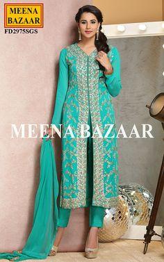 Turquoise Georgette Suit @ MeenaBazaar