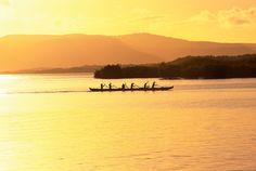 Outrigger canoe, Sunset