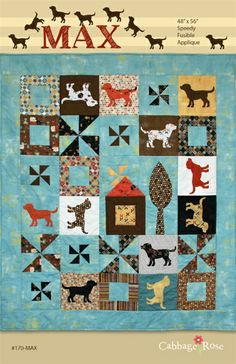 Max Quilt Pattern at Cabbage Rose Quilts.  Inspired by a chocolate lab.