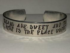 Hunger Games Rue's Song Custom Silver Metal Cuff by Serenitystorms, $11.95 Check this out @Allison Wormuth, @Ginny Griffith and @Sarah McLeaod! We NEED this and the Mockinjay pin for opening night!