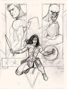 Wonder Woman, Superman, Batman, Trinity cover. Step-by-step proces by Frank Cho